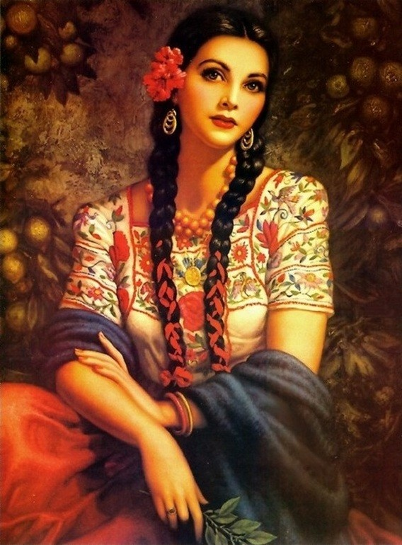 Mexican Calendar Girl Art : Gitane